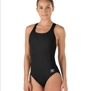 Speedo Endurance+ Women's Black Swimsuit Sz 12